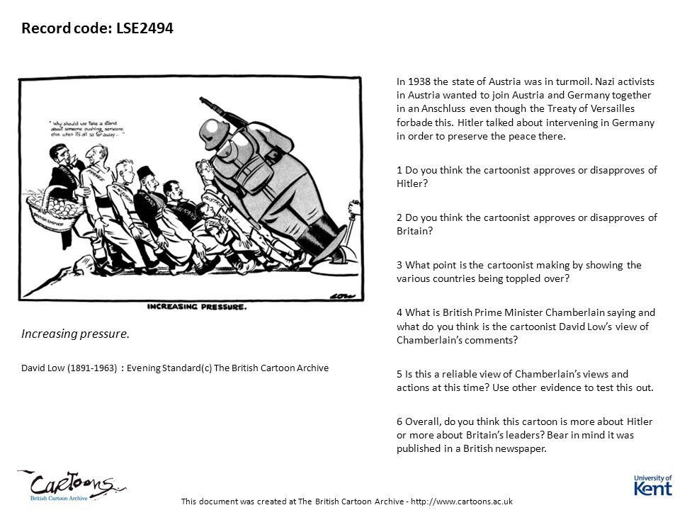 This document was created at The British Cartoon Archive - http://www.cartoons.ac.uk Record code: LSE2494 Increasing pressure. David Low (1891-1963) :