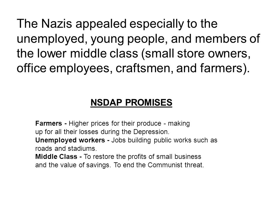 The Nazis appealed especially to the unemployed, young people, and members of the lower middle class (small store owners, office employees, craftsmen,