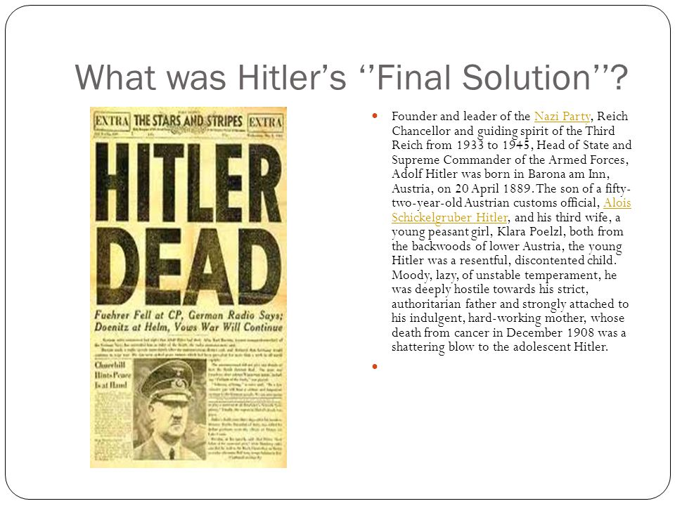 What was Hitler's ''Final Solution''.