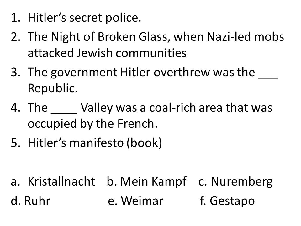 Hitler and the Rise of Nazi Germany Objective 1: To identify how Hitler solidified power.