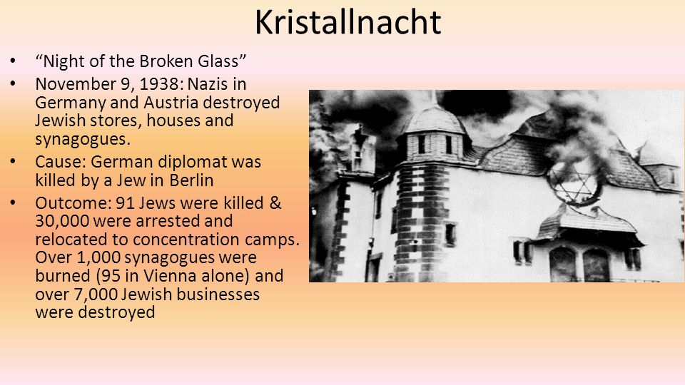 Kristallnacht Night of the Broken Glass November 9, 1938: Nazis in Germany and Austria destroyed Jewish stores, houses and synagogues.