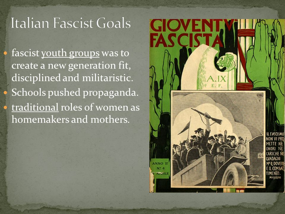 fascist youth groups was to create a new generation fit, disciplined and militaristic.
