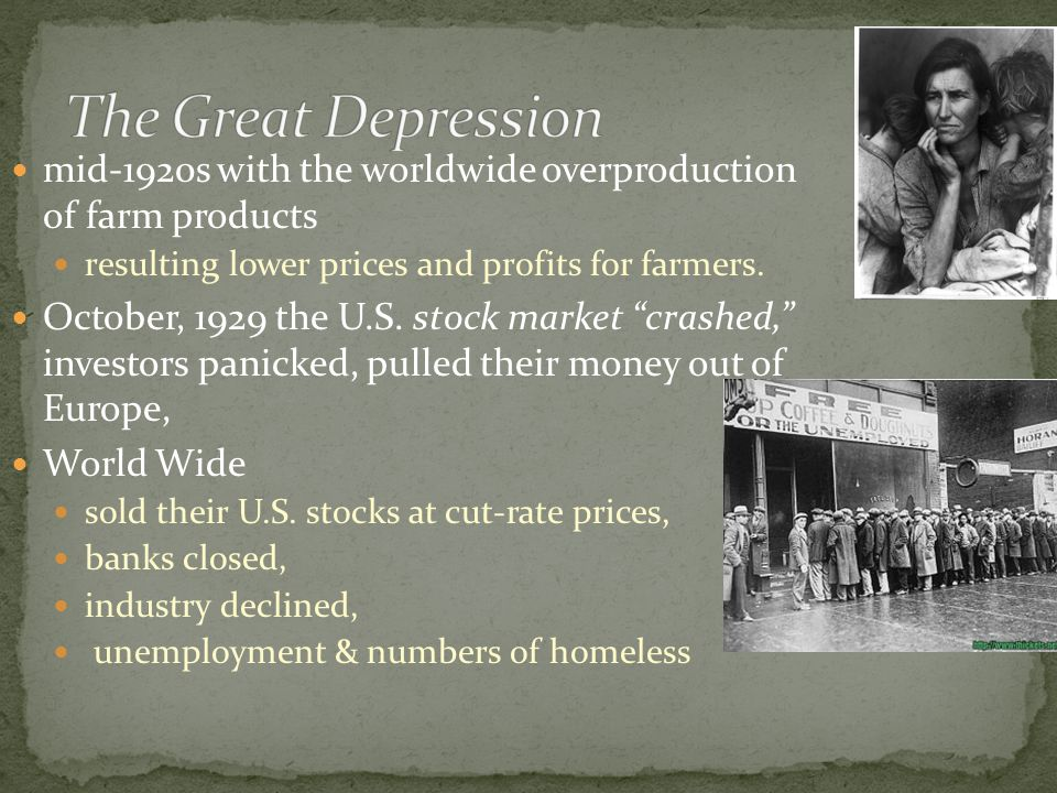 mid-1920s with the worldwide overproduction of farm products resulting lower prices and profits for farmers.