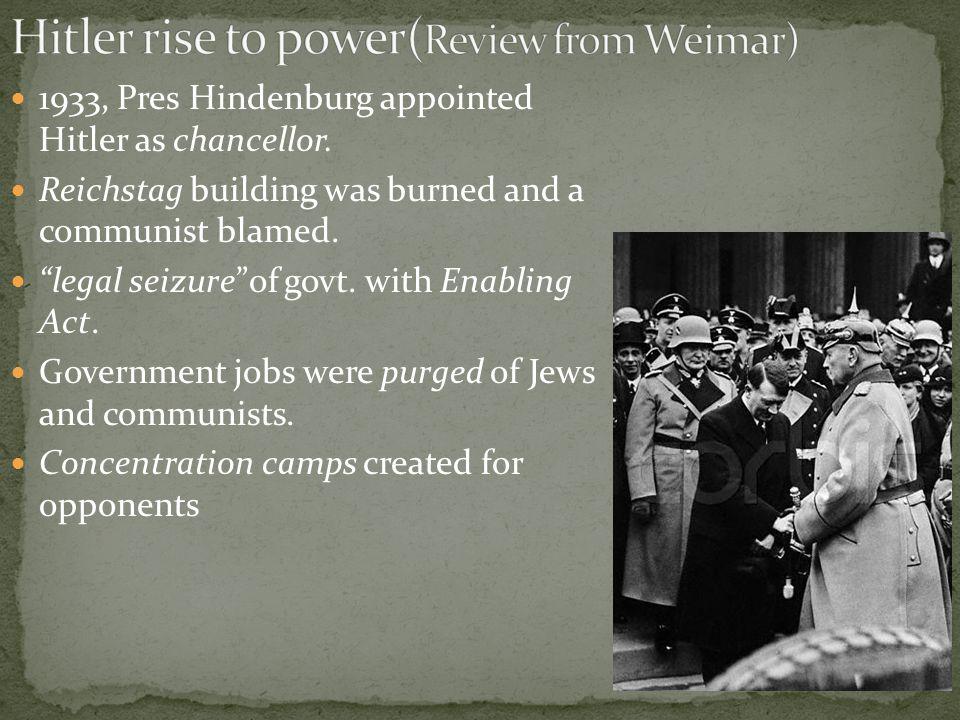 1933, Pres Hindenburg appointed Hitler as chancellor.