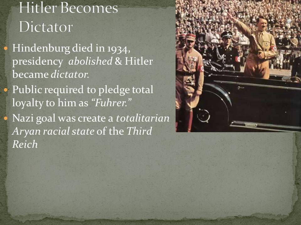 Hindenburg died in 1934, presidency abolished & Hitler became dictator.
