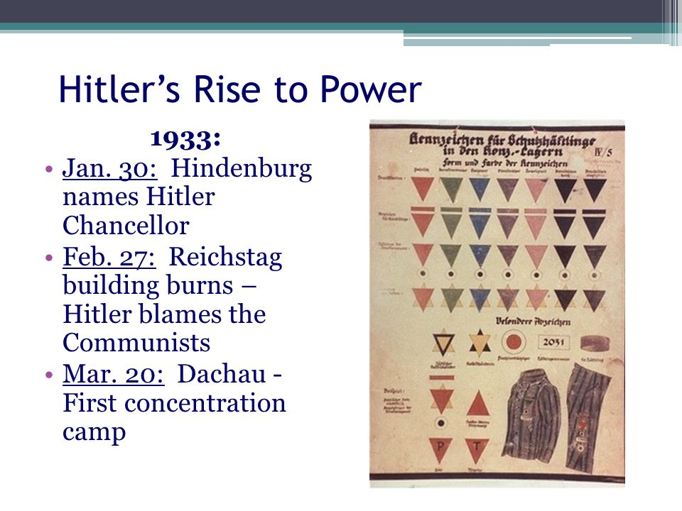 Hitler's Rise to Power 1933: Jan. 30: Hindenburg names Hitler Chancellor Feb.