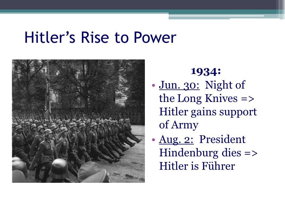 Hitler's Rise to Power 1934: Jun. 30: Night of the Long Knives => Hitler gains support of Army Aug.