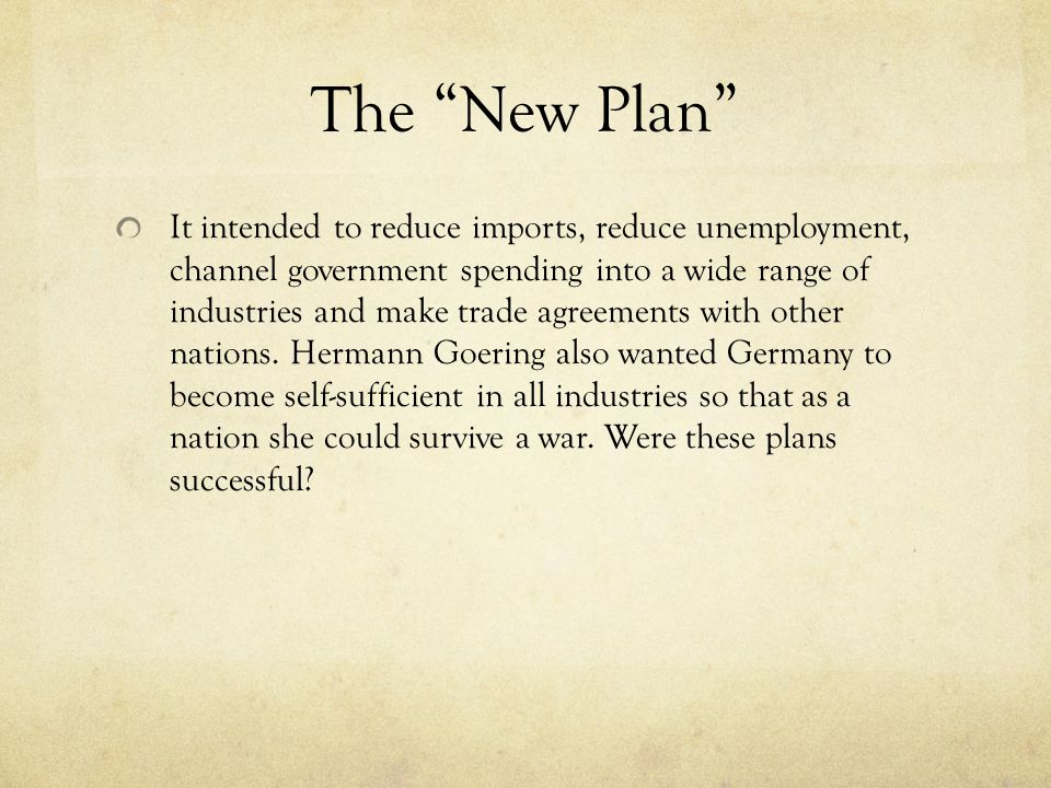 Measures Taken Reflationary Policy/State Investment Policy Schacht's New Plan Goring and his 4-year Plan