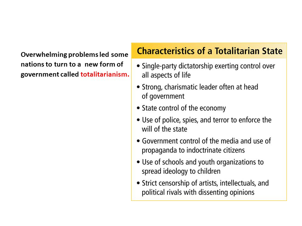 Overwhelming problems led some nations to turn to a new form of government called totalitarianism.