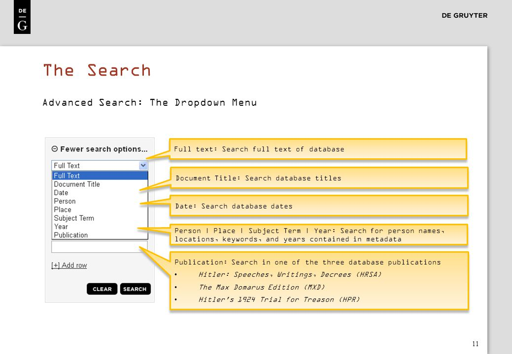 12 The Search The find-as-you-type function recommends matching terms A standard spelling is recommended when searching under Person Matching terms are recommended