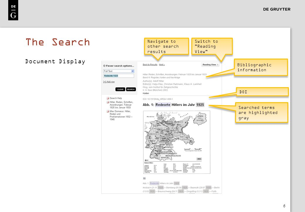 7 Document Display Relevant date Document number Document type Additional information Relevant date Document number Document type Additional information Run cursor over terms with dashed underlining to display pop-up explanation Völkischer Beobachter Page: 549 Run cursor over the book symbol to see the page number of displayed text The Search