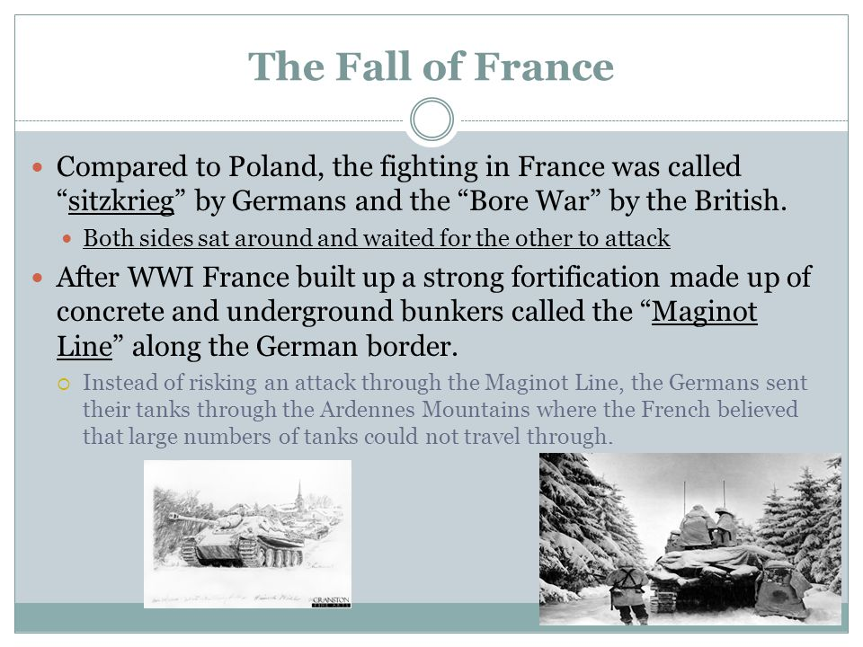 The Fall of France Compared to Poland, the fighting in France was called sitzkrieg by Germans and the Bore War by the British.