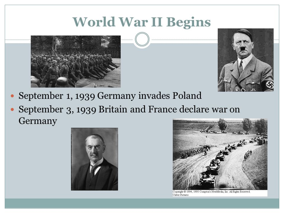 World War II Begins September 1, 1939 Germany invades Poland September 3, 1939 Britain and France declare war on Germany
