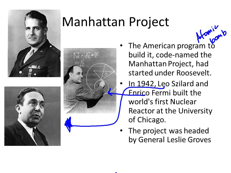 Manhattan Project The American program to build it, code-named the Manhattan Project, had started under Roosevelt. In 1942, Leo Szilard and Enrico Fer