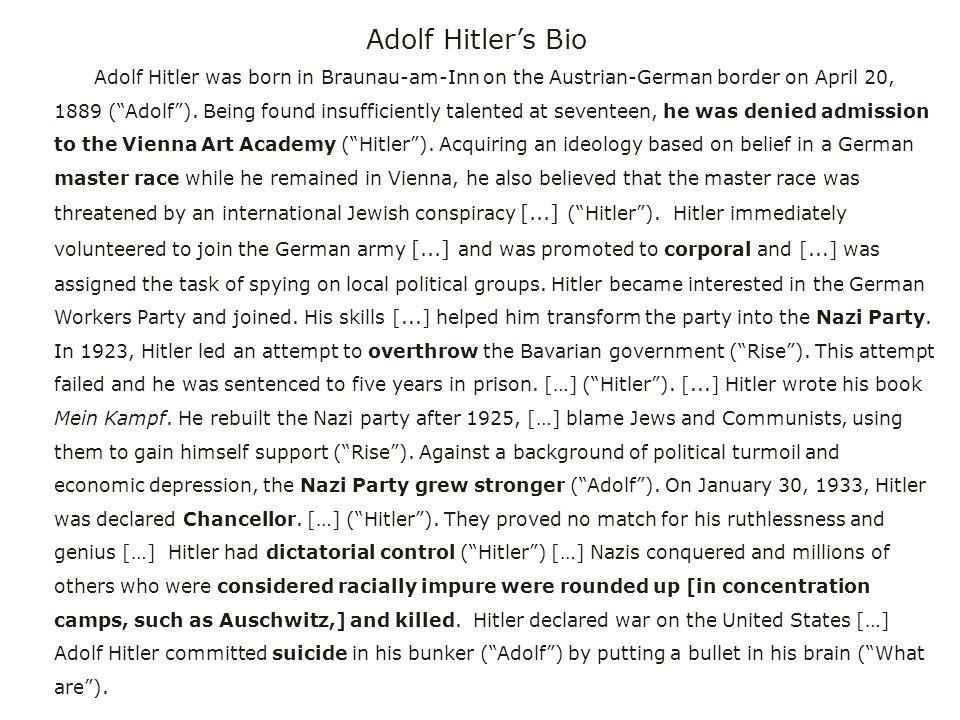 Adolf Hitler's Bio Adolf Hitler was born in Braunau-am-Inn on the Austrian-German border on April 20, 1889 ( Adolf ).