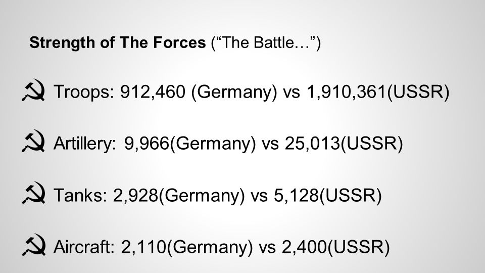 "Strength of The Forces (""The Battle…"") ● Troops: 912,460 (Germany) vs 1,910,361(USSR) ● Artillery: 9,966(Germany) vs 25,013(USSR) ● Tanks: 2,928(Germa"