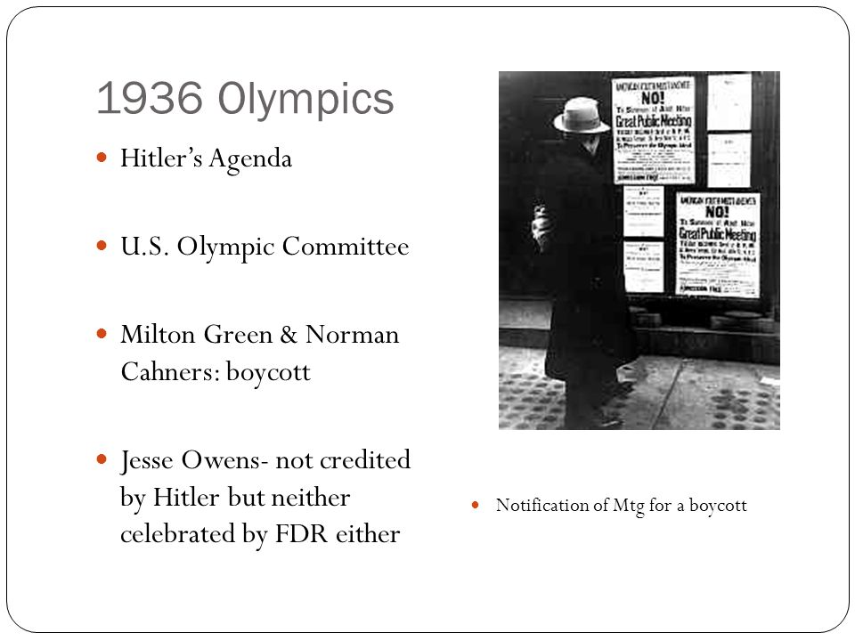 1936 Olympics Hitler's Agenda U.S.