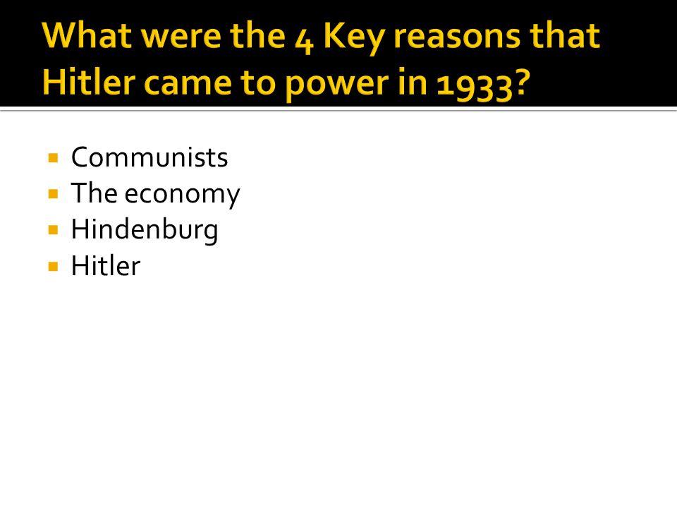  Communists  The economy  Hindenburg  Hitler