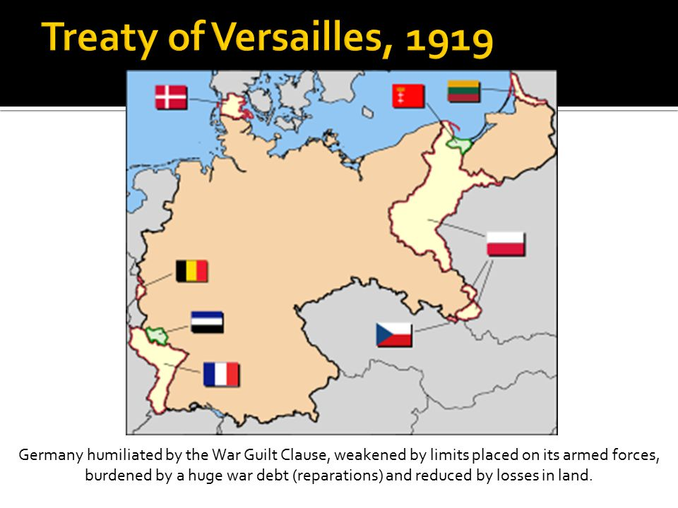 Germany humiliated by the War Guilt Clause, weakened by limits placed on its armed forces, burdened by a huge war debt (reparations) and reduced by losses in land.