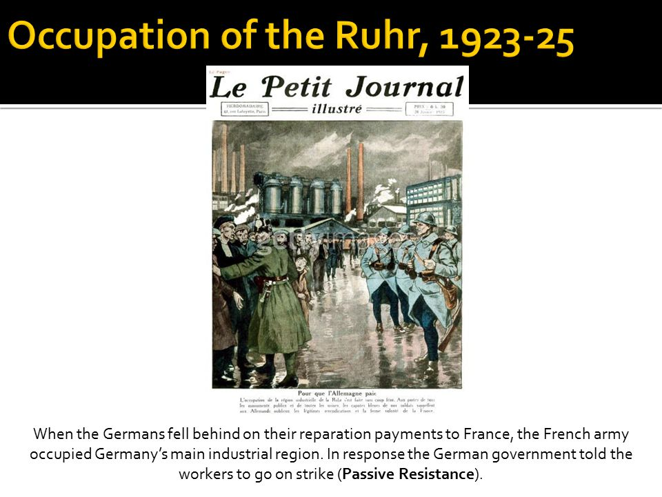 When the Germans fell behind on their reparation payments to France, the French army occupied Germany's main industrial region.