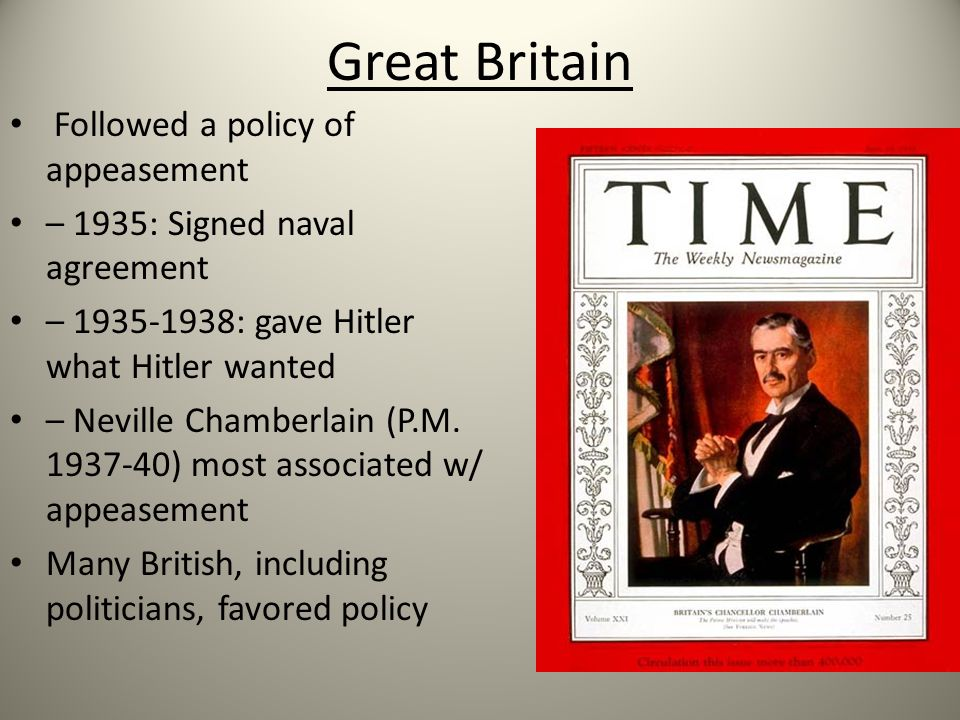 Why did Britain and France follow a policy of Appeasement in the 1930s?