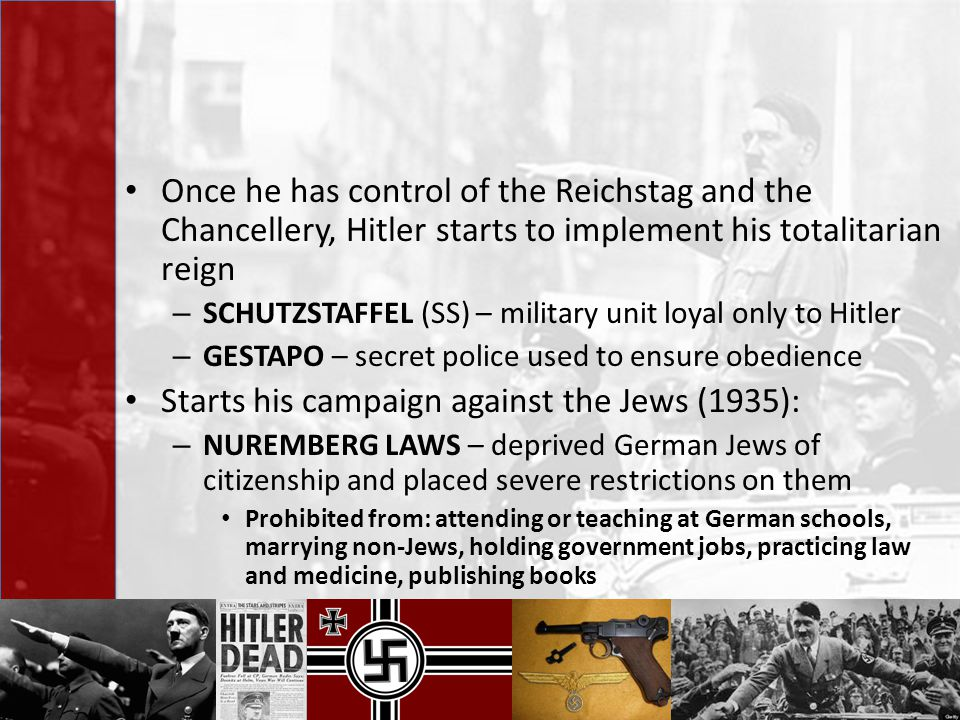 Once he has control of the Reichstag and the Chancellery, Hitler starts to implement his totalitarian reign – SCHUTZSTAFFEL (SS) – military unit loyal