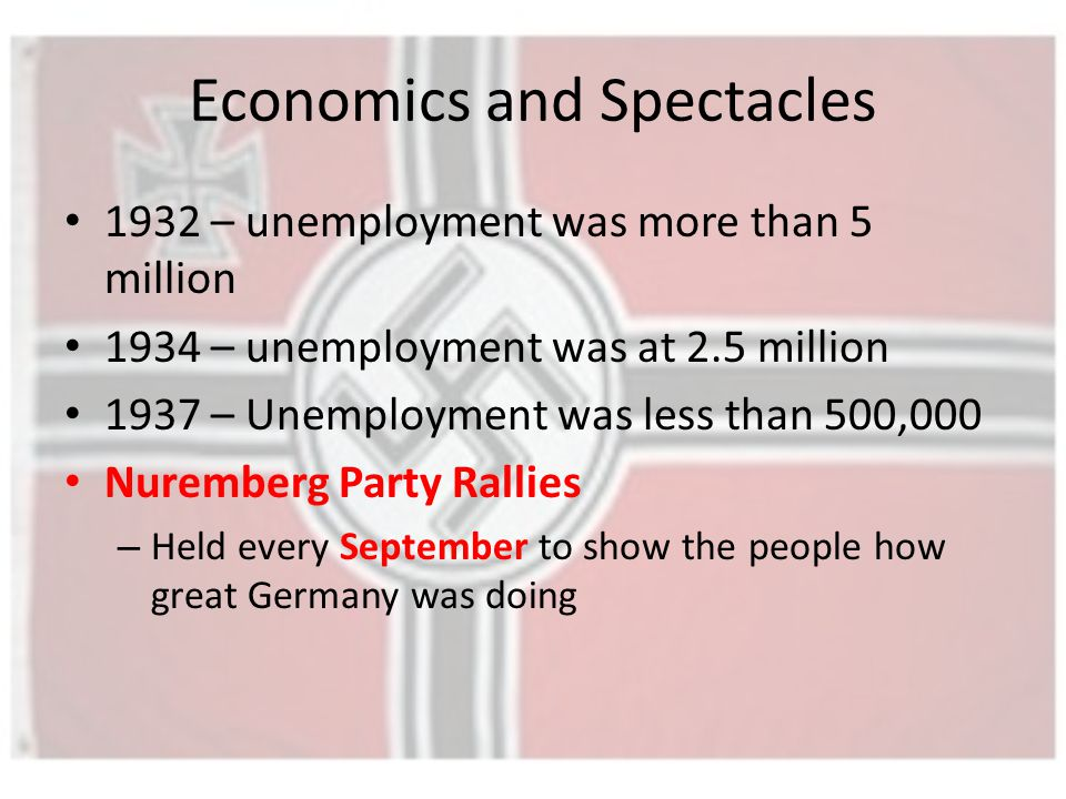 Economics and Spectacles 1932 – unemployment was more than 5 million 1934 – unemployment was at 2.5 million 1937 – Unemployment was less than 500,000 Nuremberg Party Rallies – Held every September to show the people how great Germany was doing