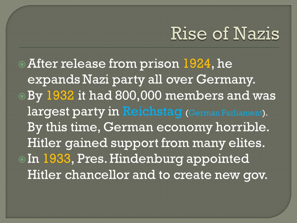  After release from prison 1924, he expands Nazi party all over Germany.