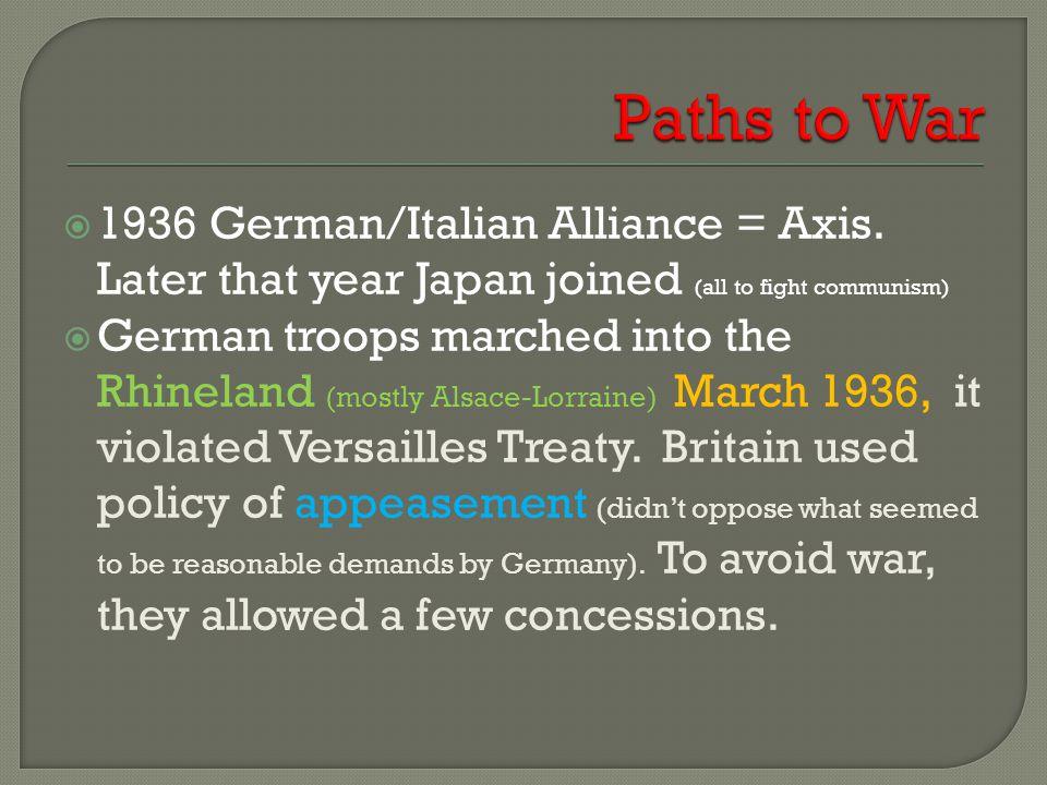  1936 German/Italian Alliance = Axis.