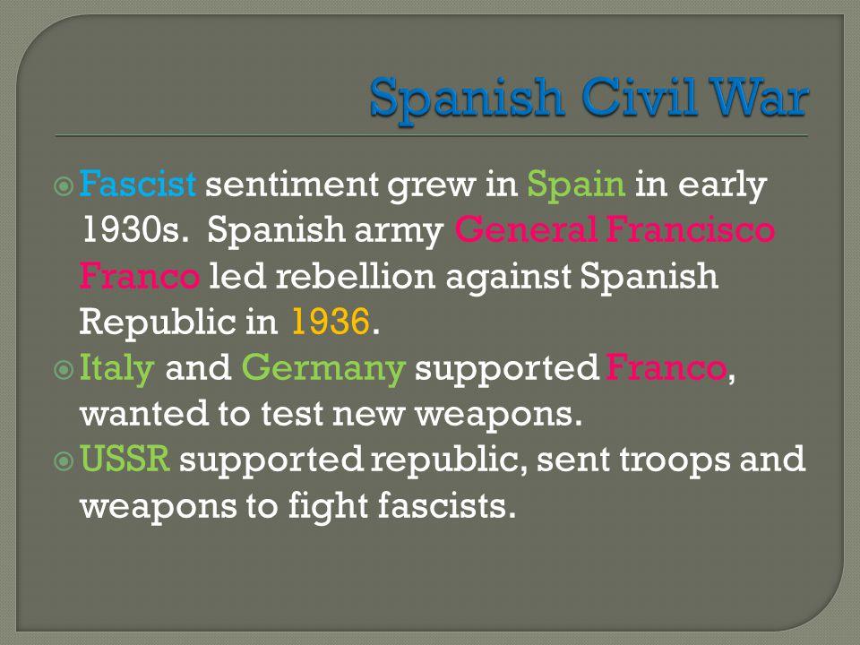  Fascist sentiment grew in Spain in early 1930s.
