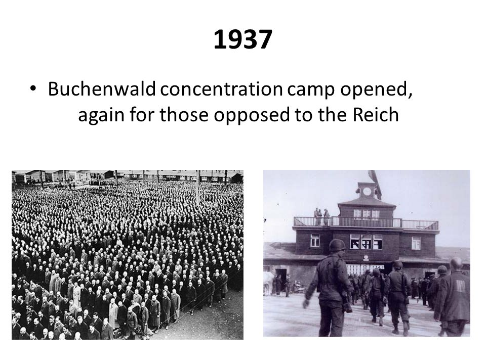 1937 Buchenwald concentration camp opened, again for those opposed to the Reich