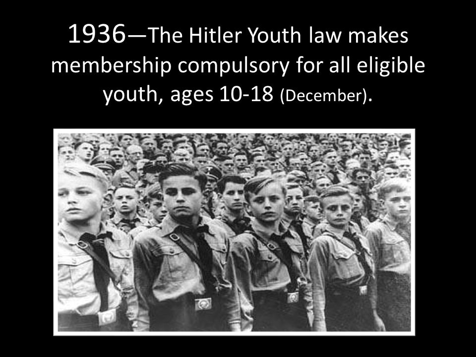 1936 —The Hitler Youth law makes membership compulsory for all eligible youth, ages 10-18 (December).