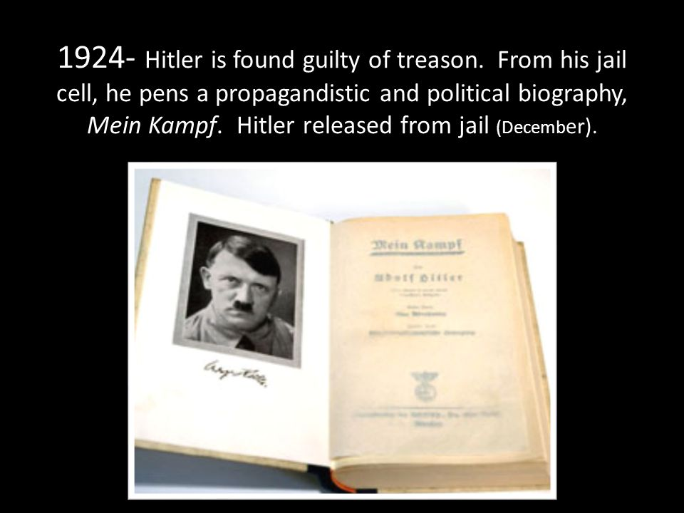1924- Hitler is found guilty of treason.
