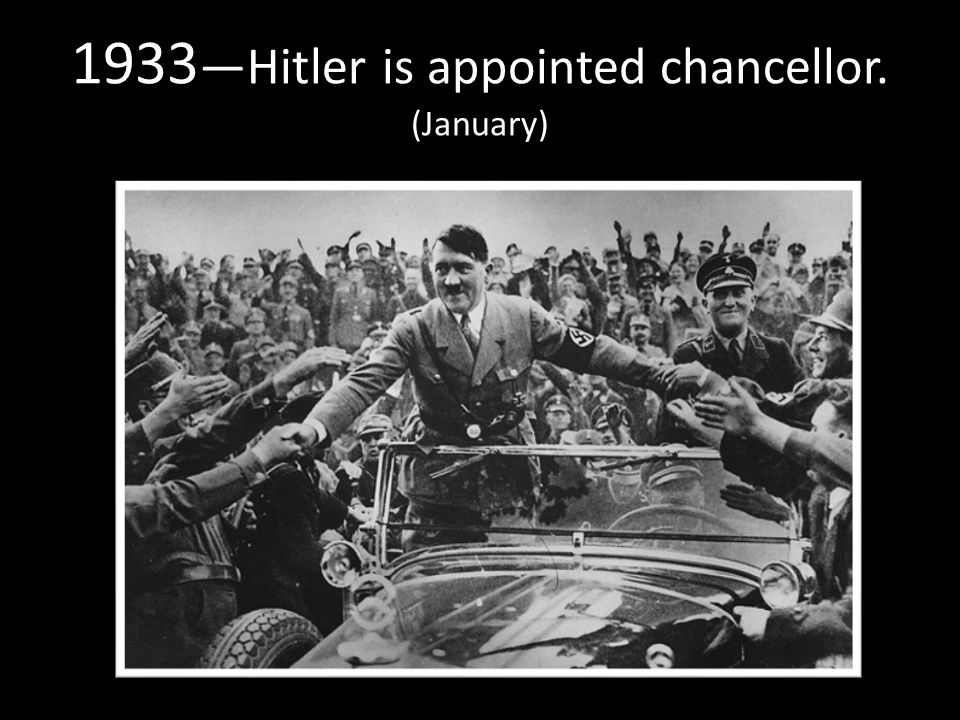1933 —Hitler is appointed chancellor. (January)