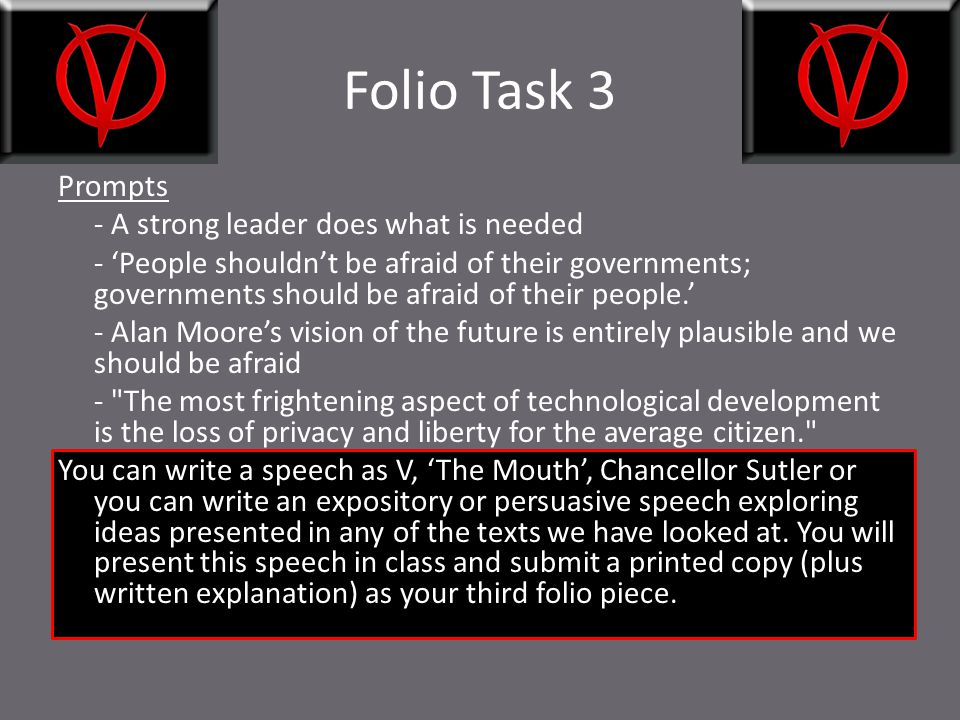 Folio Task 3 Prompts - A strong leader does what is needed - 'People shouldn't be afraid of their governments; governments should be afraid of their p
