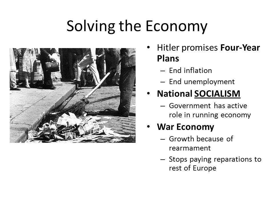 Solving the Economy Hitler promises Four-Year Plans – End inflation – End unemployment National SOCIALISM – Government has active role in running economy War Economy – Growth because of rearmament – Stops paying reparations to rest of Europe