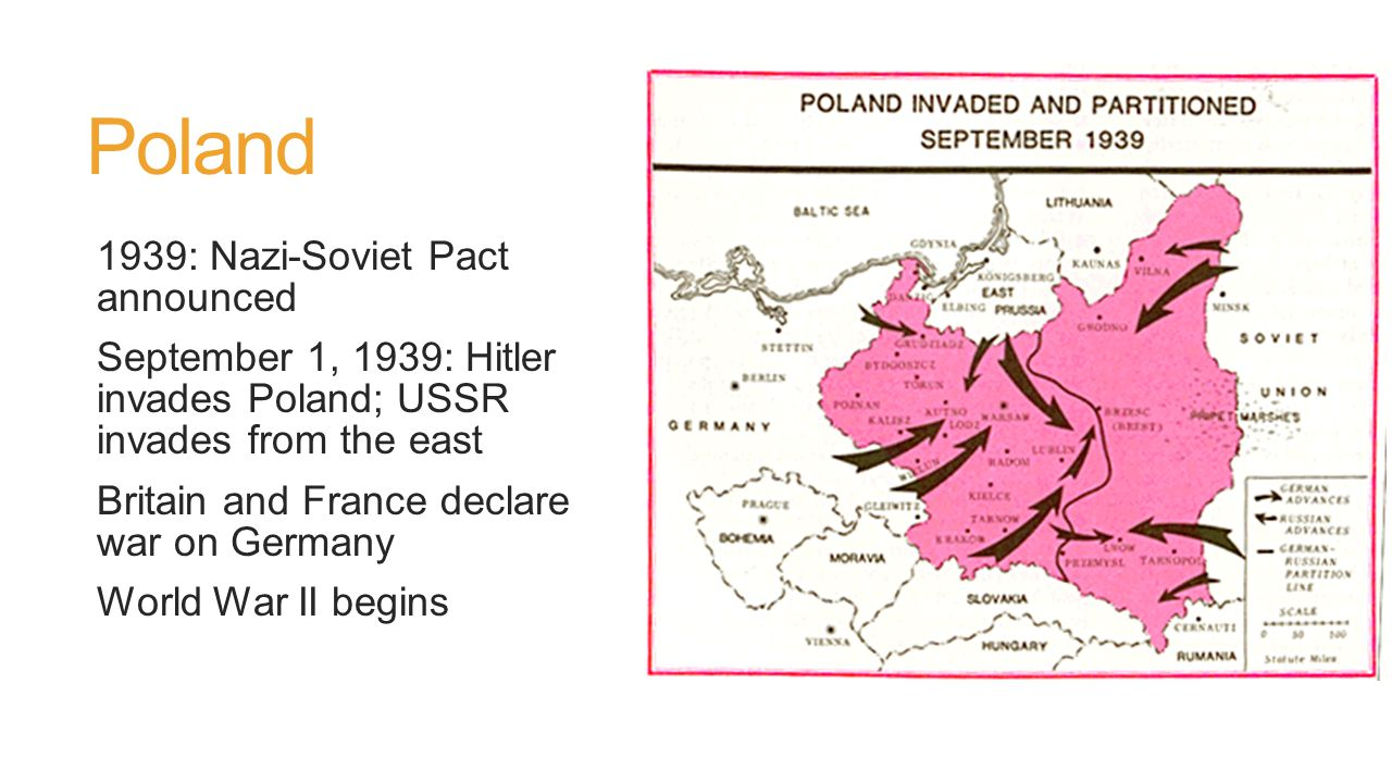 Poland 1939: Nazi-Soviet Pact announced September 1, 1939: Hitler invades Poland; USSR invades from the east Britain and France declare war on Germany World War II begins