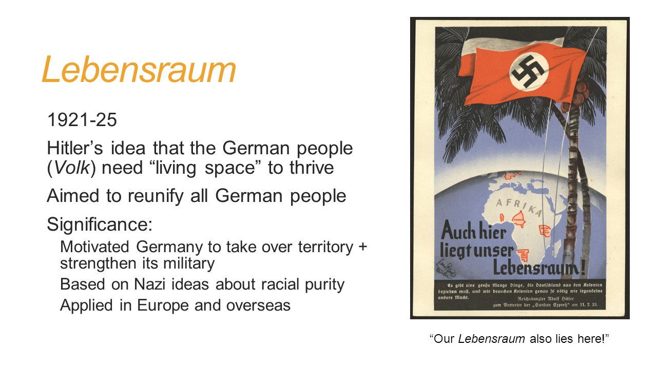 Lebensraum 1921-25 Hitler's idea that the German people (Volk) need living space to thrive Aimed to reunify all German people Significance: Motivated Germany to take over territory + strengthen its military Based on Nazi ideas about racial purity Applied in Europe and overseas Our Lebensraum also lies here!