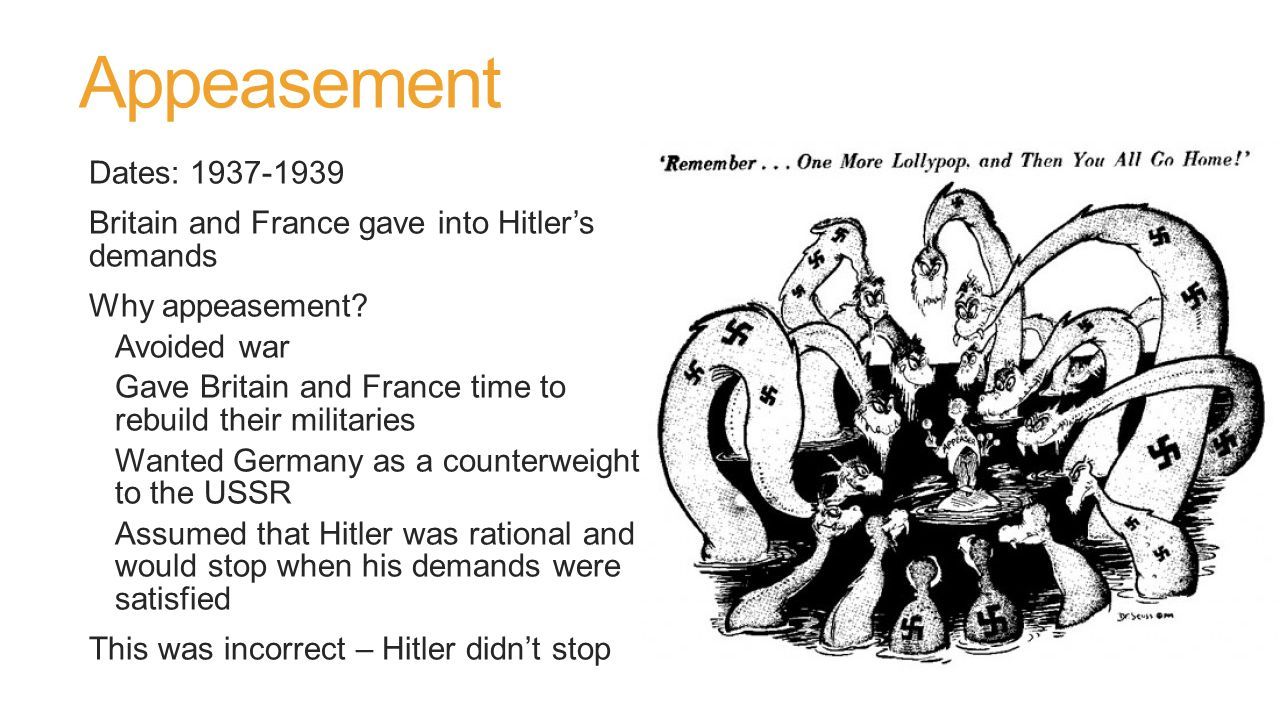 The End of Appeasement March 1939: Germany invades the rest of Czechoslovakia – breaks the Munich Agreement Britain and France realize that Hitler can't be trusted March 31: Britain agrees to defend Poland if it's invaded Britain initiates a draft