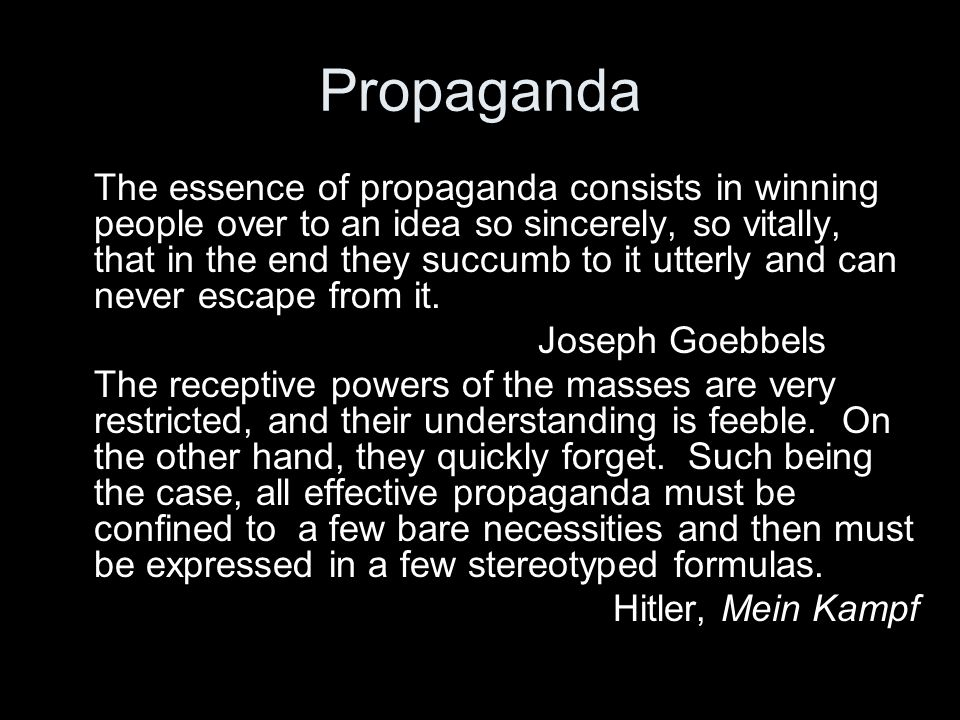 Nazi Propaganda The Nazi's quickly recognized the value of the media. From the early days of the party they used aggressive advertising to promote the