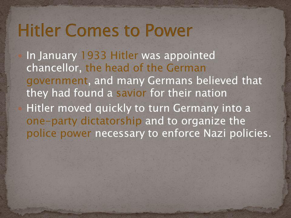 Began soon after Hitler took power Jews were main targets Nuremberg laws (1935) (defining who was Jewish) Jews were encouraged to leave Germany