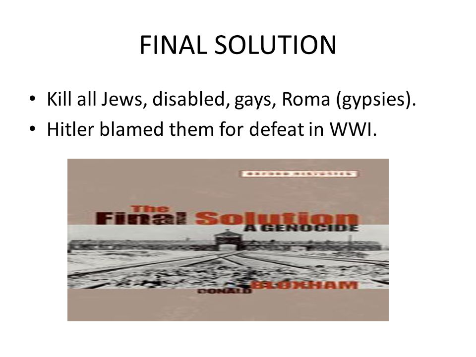 FINAL SOLUTION Kill all Jews, disabled, gays, Roma (gypsies). Hitler blamed them for defeat in WWI.