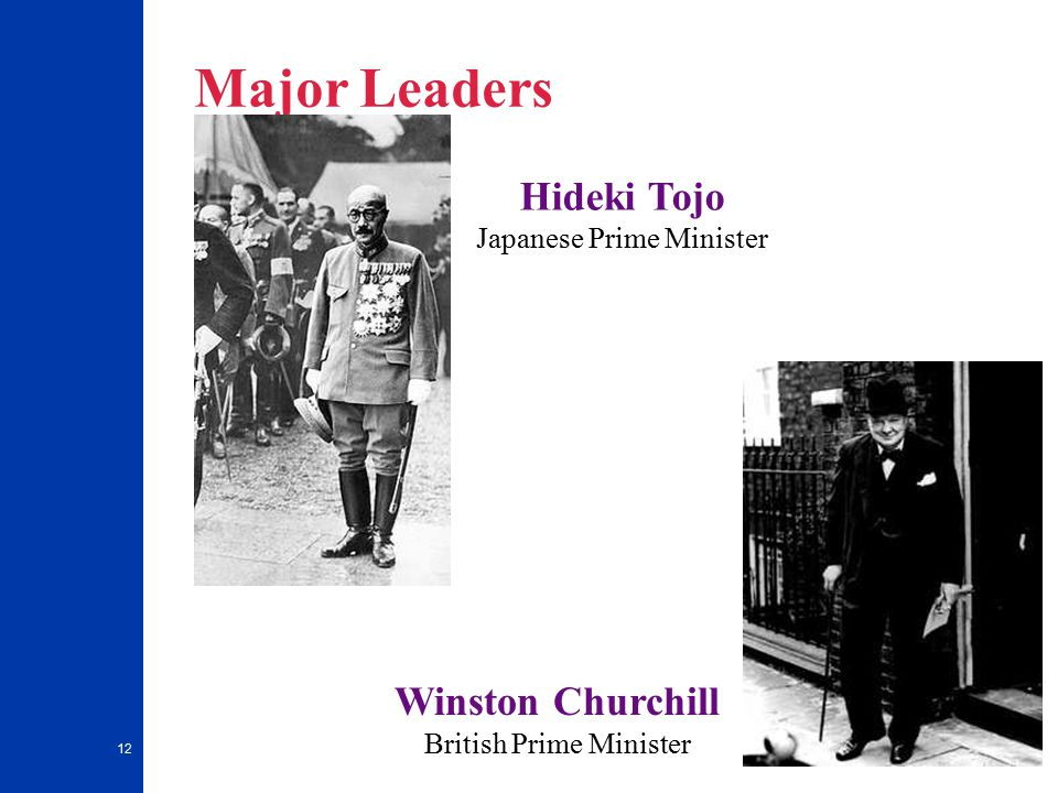 12 Major Leaders Hideki Tojo Japanese Prime Minister Winston Churchill British Prime Minister