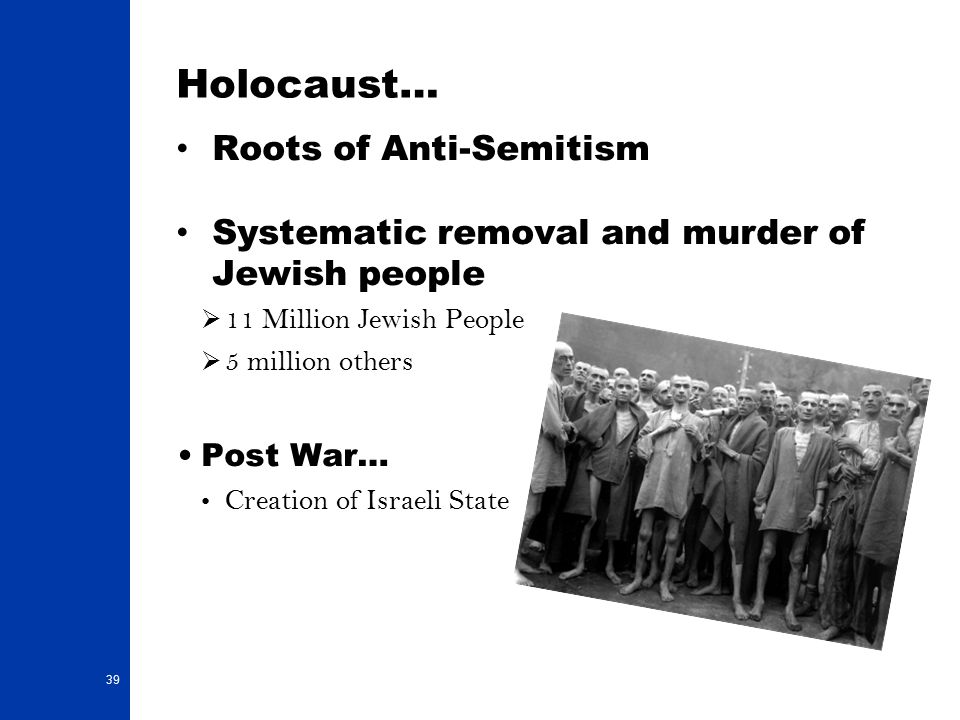 Holocaust… Roots of Anti-Semitism Systematic removal and murder of Jewish people  11 Million Jewish People  5 million others Post War… Creation of Israeli State 39