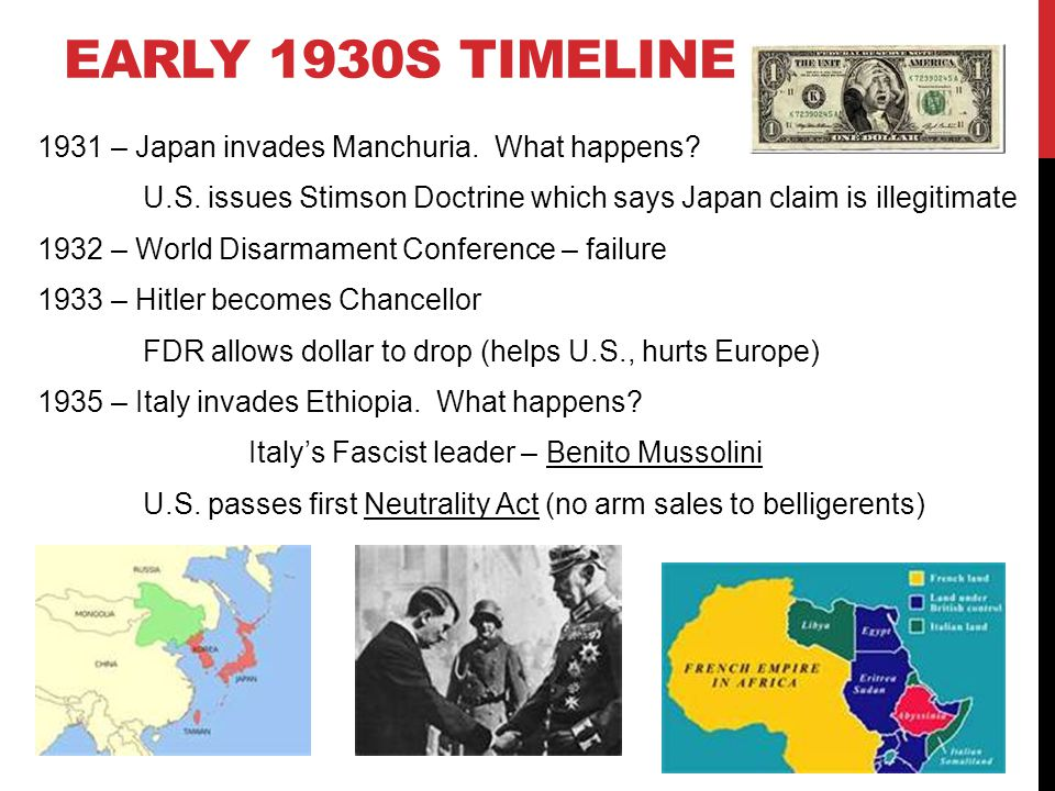 EARLY 1930S TIMELINE 1931 – Japan invades Manchuria.