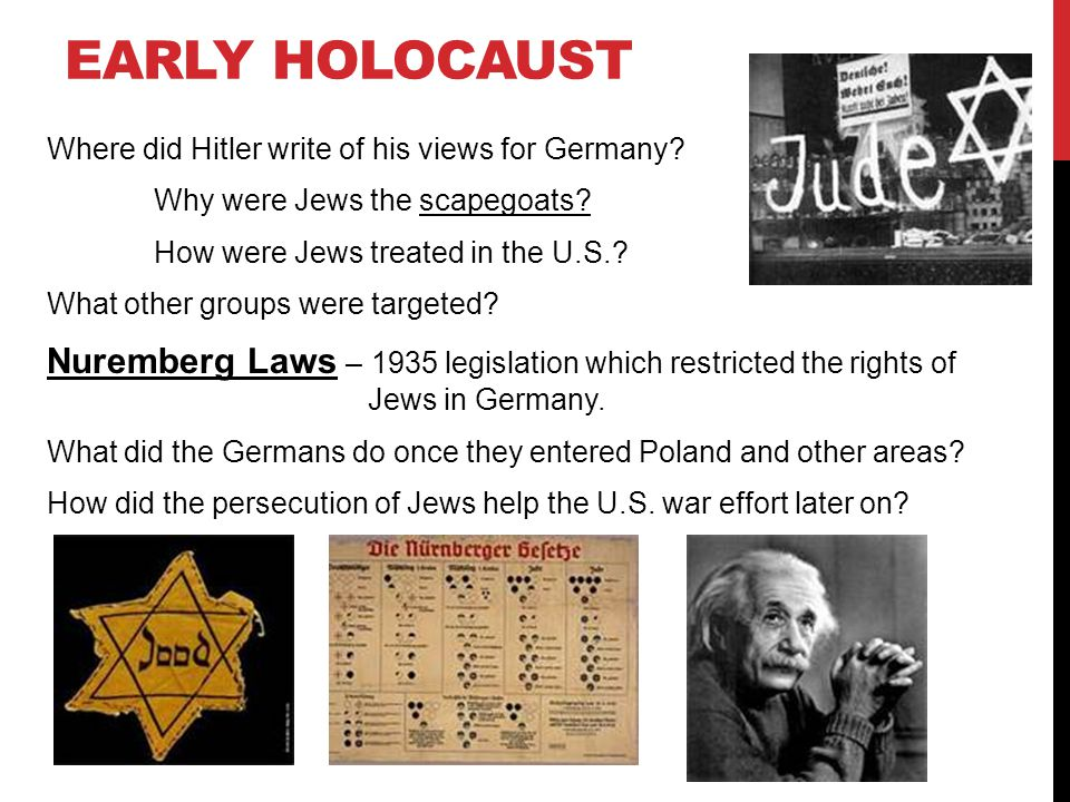 EARLY HOLOCAUST Where did Hitler write of his views for Germany? Why were Jews the scapegoats? How were Jews treated in the U.S.? What other groups we