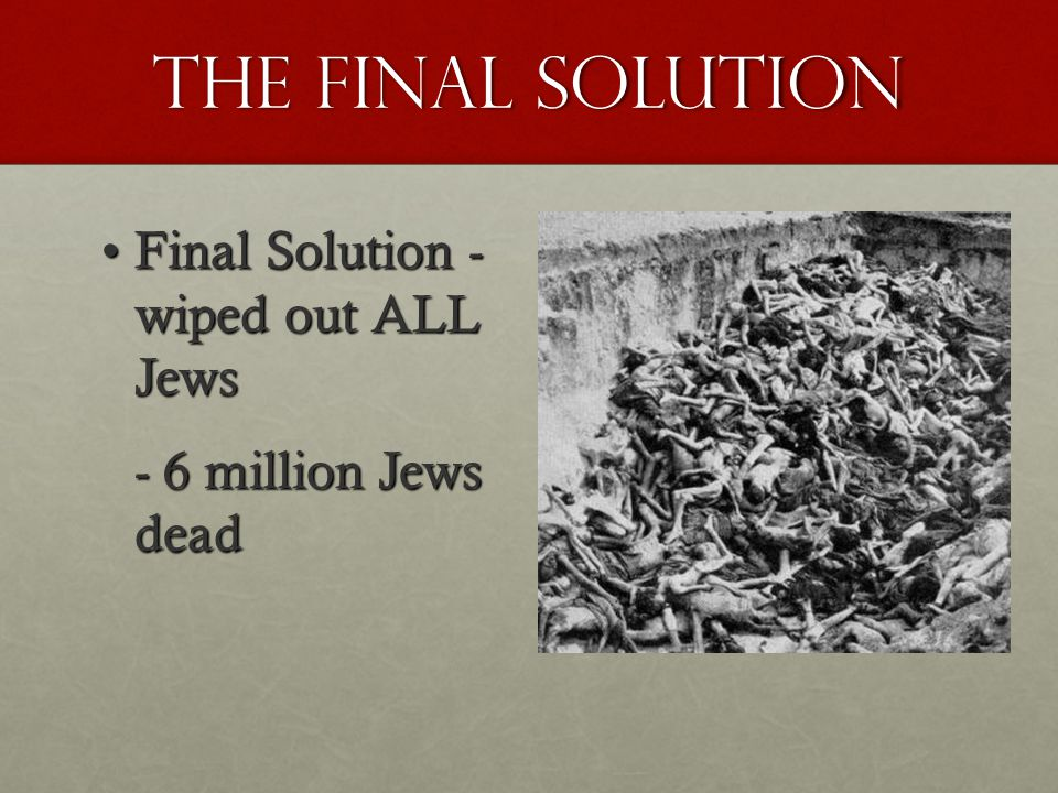 The final solution Final Solution - wiped out ALL JewsFinal Solution - wiped out ALL Jews - 6 million Jews dead