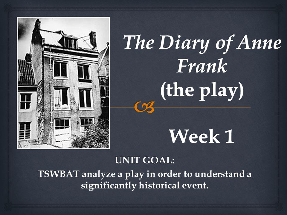 UNIT GOAL: TSWBAT analyze a play in order to understand a significantly historical event.