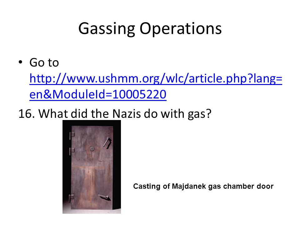 Gassing Operations Go to http://www.ushmm.org/wlc/article.php?lang= en&ModuleId=10005220 http://www.ushmm.org/wlc/article.php?lang= en&ModuleId=100052
