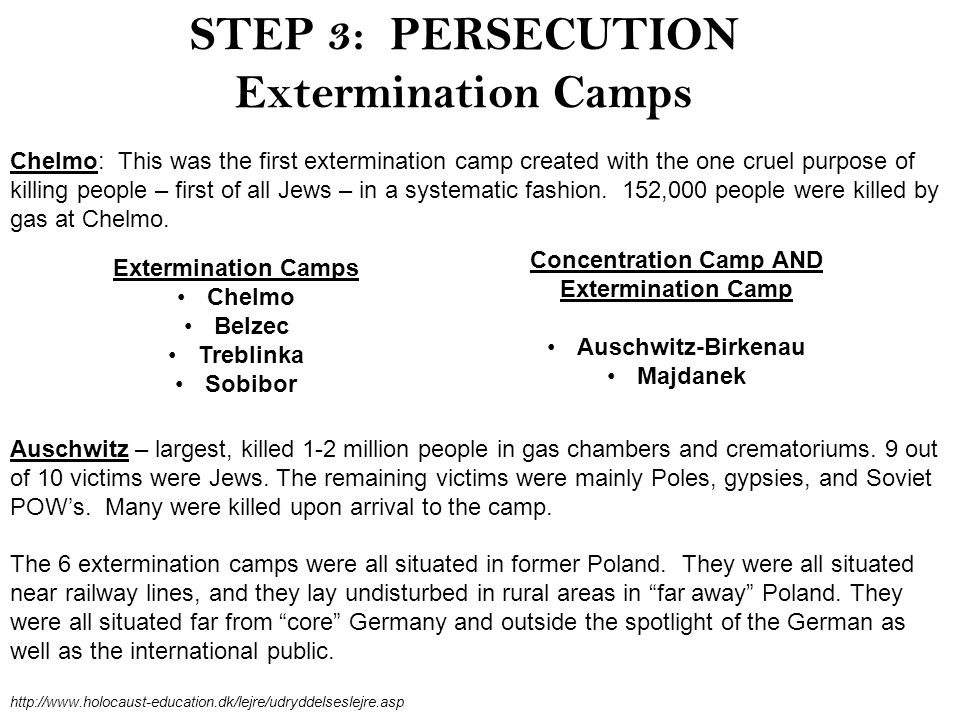 STEP 3: PERSECUTION Extermination Camps Chelmo: This was the first extermination camp created with the one cruel purpose of killing people – first of all Jews – in a systematic fashion.